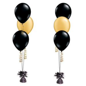 3pcs Black & Gold Latex Helium Balloon Bouquet