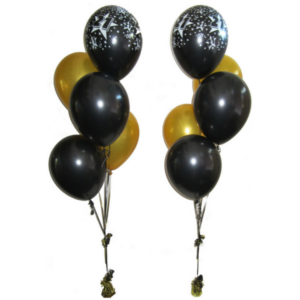 5-Piece Black & Gold Helium Balloon Bouquet