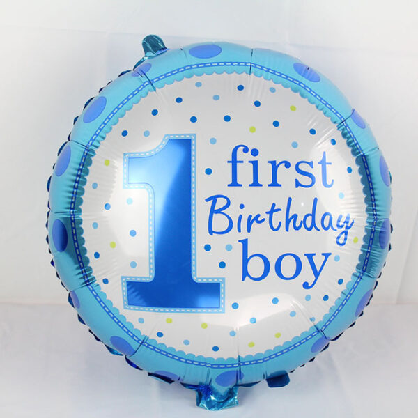 18 1st Birthday Boy Foil Balloon Beautiful Polka Design