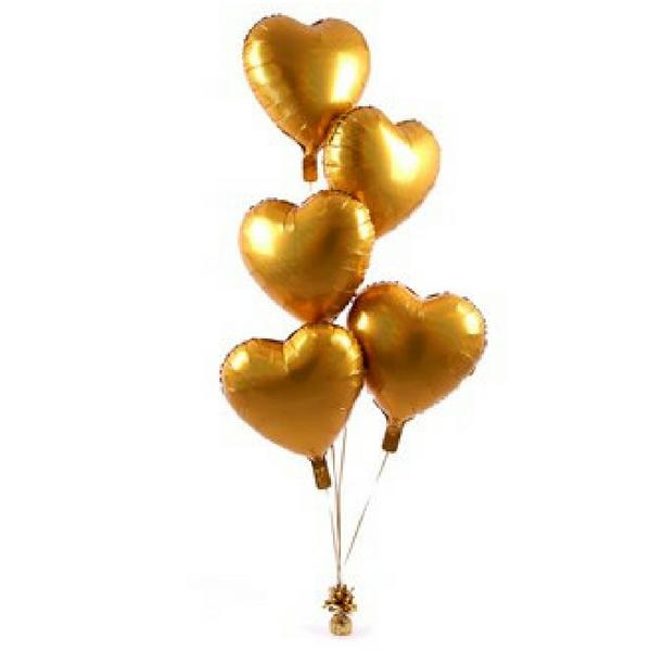Gold Love-Heart Foil Balloon Bouquet