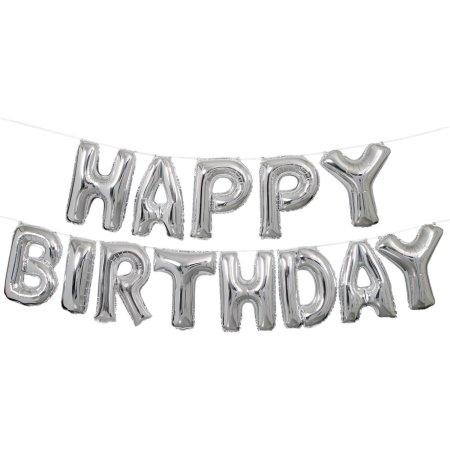 HAPPY BIRTHDAY Phrase Letters Silver Foil Balloons
