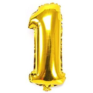 Number 1 Giant Gold Balloon Birthday Party Foil 40 inches