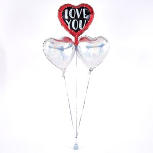 I Love You Foil Hearts Balloon Bouquet