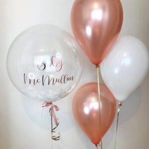 Personalized baby shower theme balloon bubble bouquet